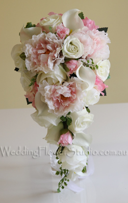 Pink White Peony Rose Teardrop Bouquet