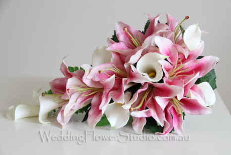Silk Wedding Flowers 28 Cool white pink lily calla
